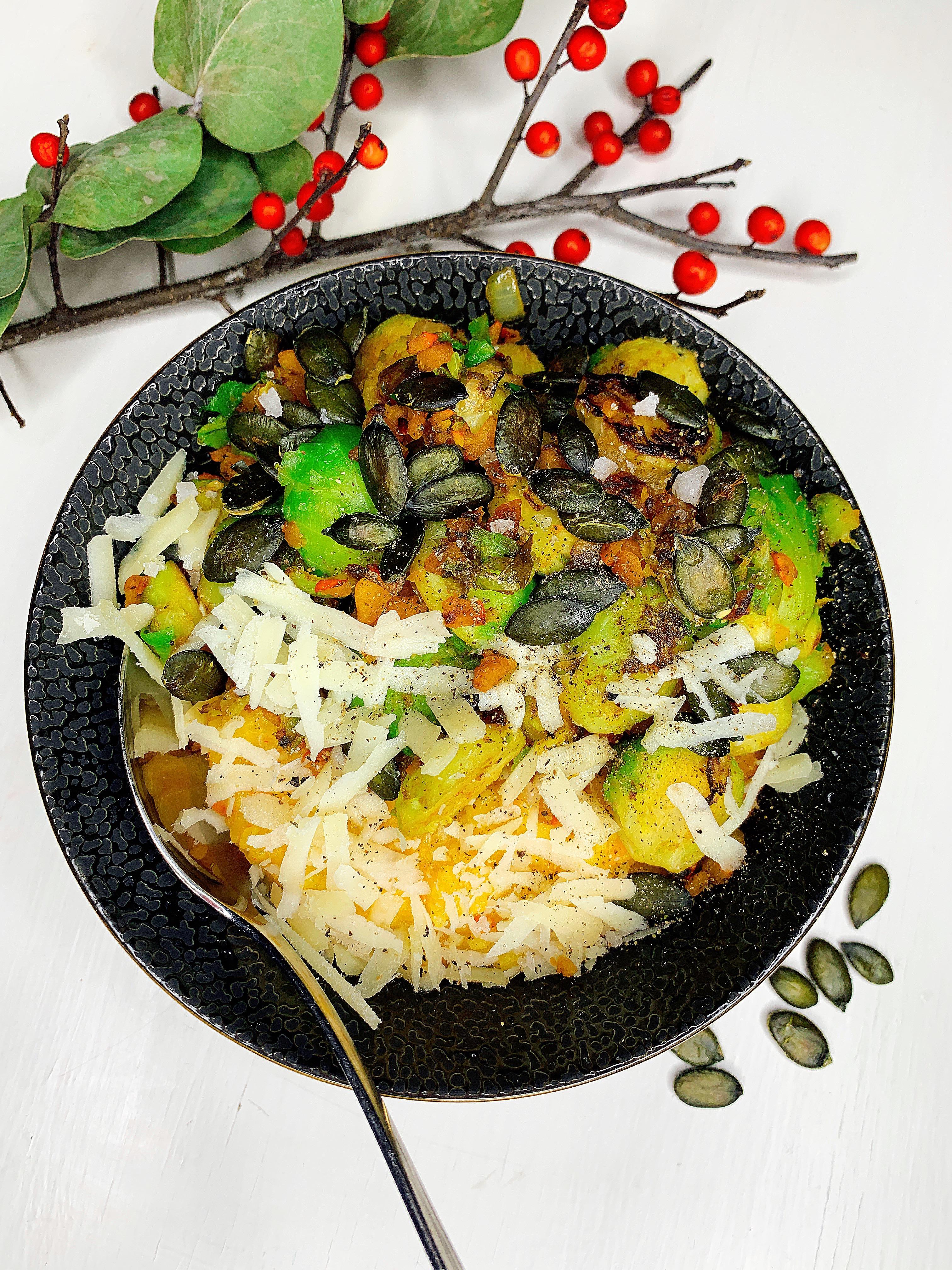 Kürbisrisotto mit gebratenem Rosenkohl, vegetarisch oder vegan