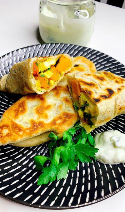 Teigtaschen mit Süßkartoffel-Halloumi-Füllung