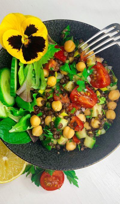 Belugalinsen-Kichererbsen-Salat, vegan – glutenfrei – zuckerfrei